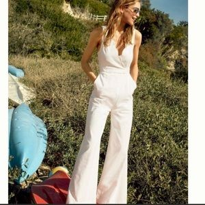Anthropologie Scalloped Chino White Jumpsuit 🦢